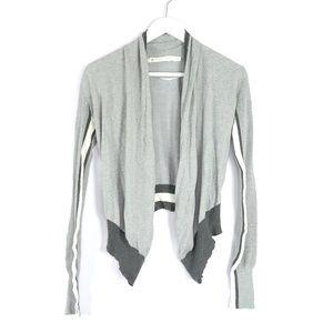 Blanc Noir gray cropped waterfall cardigan sweater